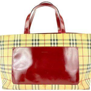 Burberry Nova Check Tote Red Shopper 4bur1019